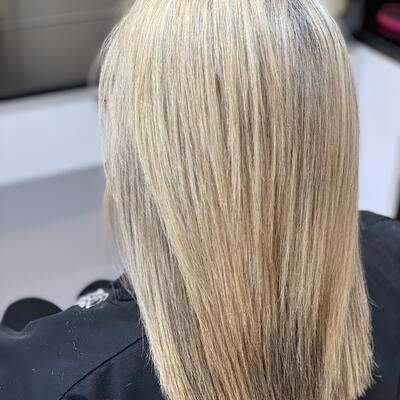AFTER: correct of color and a GK Keratin smoothing treatment